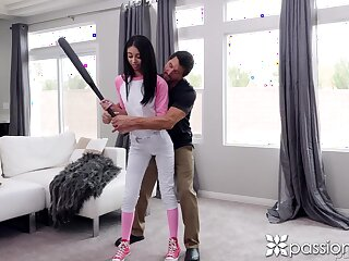Baseball teen Jada Doll seduces her elder instruct and gives him a blowjob